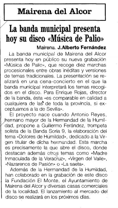 ABC de Sevilla. 3 de Febrero de 1996. Pág 54.